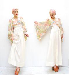 70s Boho Dress  Art Nouveau Dress  Floral Maxi by POMPOMCLOTHING