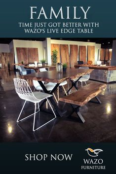 Have Better Family Time With Our Wood Table Wood Tables, Outdoor Tables, Outdoor Decor, Dining Chairs, Dining Table, Mid Century Modern Sofa, Live Edge Table, Acacia Wood, Industrial Furniture