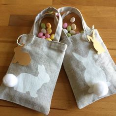 Rabbit pattern fabric bags for gifts or treats: Home accessories by made-at-the-green-shutters - 2019 Easter Crafts, Crafts For Kids, Diy Crafts, Fabric Patterns, Sewing Patterns, Green Shutters, Fabric Stamping, Easter Tree, Easter Activities