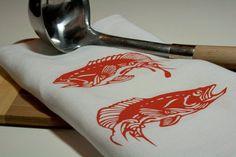 Tea Towel - White Linen - Orange Fish - Hand Screen Printed. $17.00, via Etsy.
