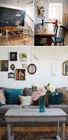 How to Add Farmhouse Style to Any House: Love the chalkboard wall in the dining room by the stairs Decor, House Design, House, Interior, Home, House Styles, House Interior, Interior Design, Chic Eclectic Decor