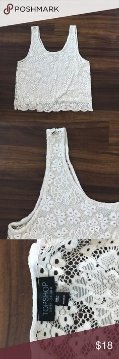 TOPSHOP Ivory Lace Open Back Crop Tank Ivory Lace Tank with sheer, exposed back. Crop length. Excellent condition. Just in time for summer!! Topshop Tops Tank Tops