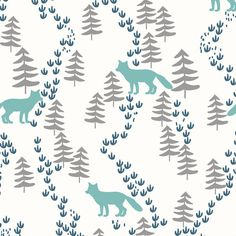 Woodland Fox Fabric Fall Forest Foxes In Teal by Spoonflower