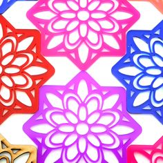 Laser cut acrylic pink and red transparent 'Boxed Flower' coasters by Rezal. Fireworks Design, Decorative Screens, Interior Decorating Styles, Custom Coasters, Laser Cut Acrylic, Custom Logos, Laser Cutting, Flower Designs, Flowers