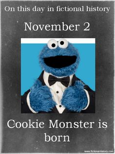 (Source) Name: Cookie Monster Birthdate: November 2 Sun Sign: Scorpio, the Scorpion Sesame Street Muppets, Sesame Street Characters, Sesame Street Place, Monster Art, Cookie Monster, Mejores Series Tv, Fraggle Rock, Cartoon Quotes, Jim Henson