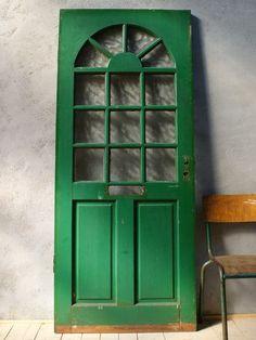 イギリス アンティーク ガラス入り木製ドア 扉 ディスプレイ 建具 6072