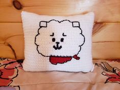 Just Cross Stitch, Crochet Pillow, Hello Kitty, My Etsy Shop, Bts, Throw Pillows, Dolls, Check, Pattern