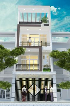 www.ngoinhavui.com.vn nha-pho-hien-dai.html House Arch Design, 3 Storey House Design, Duplex House Design, Townhouse Designs, Home Building Design, Small House Design, Dream Home Design, Narrow House Designs, Narrow House Plans