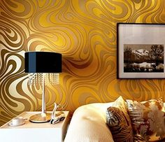 Modern Luxury Abstract Curve 3d Wallpaper Roll Mural Papel De Parede Flocking for Striped Gold&yellow Color Qh-wallpaper 0.7m*8.4m=5.88㎡: Amazon.co.uk: DIY & Tools