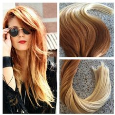 5 Star Ombre Balayage Cuticle Remy Human copper/auburn Ombre Tape-in... ($270) ❤ liked on Polyvore featuring beauty products, haircare, hair styling tools, accessories, grey and hair accessories