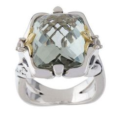 Ann King Sterling and 18K Yellow Gold White Topaz Gemstone Ring Size 7 372T #AnnKing #Solitaire