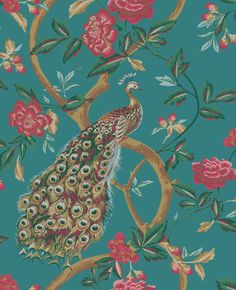 Peacocks and Vines Wallpaper peacock wallpaper is made with a paper  material and comes with a vinyl coating for added durability from The Home  Depot d7914d40e