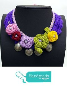 Crochet embroidered handmade flower necklace NC414 from Nazo Design https://www.amazon.com/dp/B01H6WA392/ref=hnd_sw_r_pi_dp_qNS7xbPR4A5XR #handmadeatamazon
