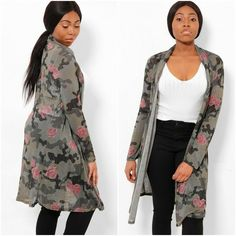 Floral and Camo print design. One Size - Fits UK 8 - Viscose, Polyester. Jackets Uk, Duster Jacket, Camo Print, Summer Tops, Knitwear, Print Design, Floral Prints, High Neck Dress, Stuff To Buy