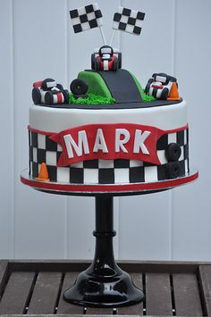 Race car cake by jdesmeules . To celebrate your trip.:) Hope you have time to visit a few of your friends in Pa. Race Car Birthday, Race Car Party, Cars Birthday Parties, Boy Birthday, Car Birthday Cakes, Birthday Ideas, Racing Cake, Race Car Cakes, Renn Kuchen