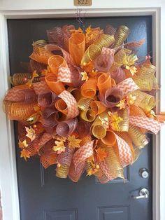 Fall Swirl Deco Mesh Wreath w/ chevron by Onecreativeredhead Mesh Ribbon Wreaths, Fall Mesh Wreaths, Fall Deco Mesh, Deco Mesh Wreaths, Holiday Wreaths, Winter Wreaths, Burlap Wreaths, Wreath Crafts, Diy Wreath