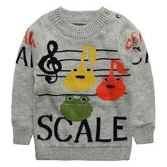 Little Girls Boys Baby Cute Pattern Round Collar Cashmere Sweater Size 2T