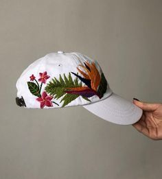 Finding your way around baseball takes both commitment and time. Custom Embroidered Hats, Embroidered Baseball Caps, Embroidered Flowers, White Baseball Cap, Baseball Hats, Hat Embroidery, Embroidery Ideas, Painted Hats, Flower Hats