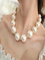 De Mujeres de Nueva perla grande llena de diamantes Collar Gargantillas Clavícula Collar