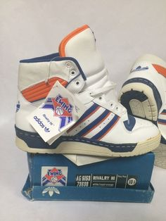 Adidas Rivalry Hi 80s Size 10 5 Men s White Red Vintage Patrick Ewing DS  9535d11fca
