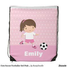 Cute Soccer Footballer Girl Pink Drawstring Bag