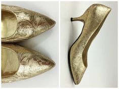 Metallic Gold High Heels - Size 9 1/2 Gold Brocade Pumps - Vintage 1980s Ladies High Heel Shoes by Dolce by Pierre