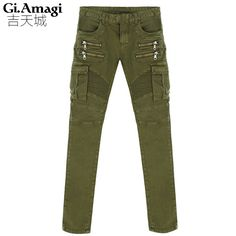 >> Click to Buy << Trend folds stretch jeans feet Men's Cargo Pants Army Green Casual Pants Cotton Trousers For Men pants trousers #Affiliate