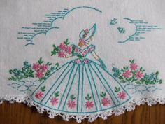 Beautiful Pair of Vintage Pillowcases Hand Embroidered Southern Belle | eBay