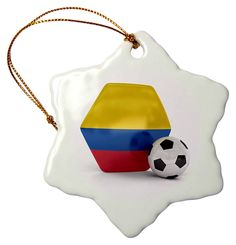 3dRose Colombia Soccer Ball - Snowflake Ornament, Porcelain, 3-Inch (orn_181896_1) >>> Find out more details by clicking the image : Wedding Decor