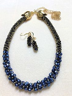 Winter Trace Beaded Kumihmo Necklace and Earrings