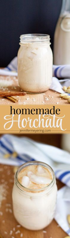 Homemade Horchata - Make your own horchata right at home with a few simple ingredients: rice, water, almonds, cinnamon and sugar! Mexican Drinks, Mexican Dishes, Mexican Food Recipes, Homemade Horchata, Horchata Recipe, Yummy Drinks, Healthy Drinks, Yummy Food, Delicious Dishes