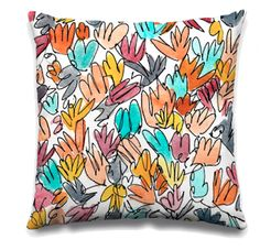 I drew these squiggly leaves with a Uniball Vision pen (waterproof ink), then dropped puddles of watercolor on top. Art Desk, Better Together, Pillow Design, Surface Design, Florals, Aqua, My Arts, Leaves, Throw Pillows