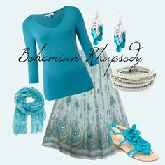 I love aqua with silver, and I love this skirt from Bombay Fashions!