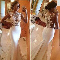 Lace mermaid prom dress, mermaid prom dress, white prom dress, long prom dress, lace prom dress, elegant prom dress, prom dress 2016, 15196