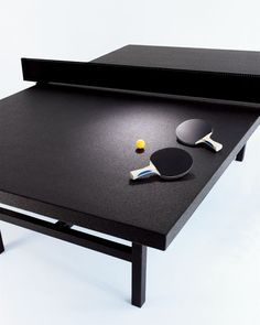 black ping pong table