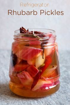 This wonderful quick pickled rhubarb is a great ingredient to have on hand to flavor everything from salads to cheese and charcuterie plates or smoked fish and pâtés. Make it a day ahead to let the flavors develop. Easy Appetizer Recipes, Appetizers, Easy Recipes, Pickled Ginger, Homemade Pickles, Pickles Recipe, Rhubarb Desserts, Rhubarb Canning Recipes, Canning Recipes