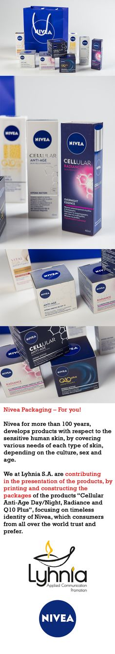 """Nivea Packaging – For you!  Nivea for more than 100 years, develops products with respect to the sensitive human skin, by covering various needs of each type of skin, depending on the culture, sex and age. We at Lyhnia S.A. are contributing in the presentation of the products, by printing and constructing the packages of the products """"Cellular Anti-Age Day/Night, Radiance and Q10 Plus"""", focusing on timeless identity of Nivea, which consumers from all over the world trust and prefer."""