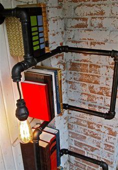 Pipeline bookshelf with lamp