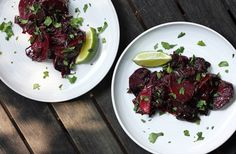 Roasted beets with red onion, poblano with lime and cilantro finish. Just made this and it is delicious! Never roasted beets before and it was a snap!