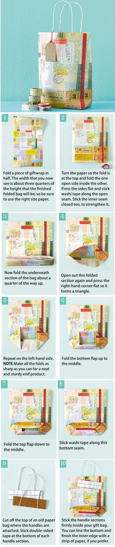 Fold a gift bag-maybefold paper around a suitable sized box? Makes it easier!!