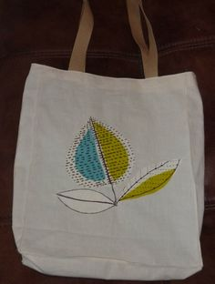 another calico bag fully lined with pocket and with an attractive appliqued blue and lime yellow leaf design.