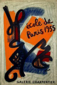 Affiche Atlan Jean Michel Ecole de Paris Galerie Maurice Charpentier 1955