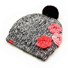 Hairball beanie hats flower decoration winter hats for women