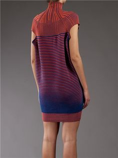 Orange and navy blue knitted cotton dress from Peter Pilotto