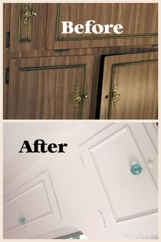 Cupboards of my 70's viscount makeover before and after