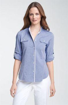 Lafayette 148 New York Oxford Shirt with Contrast Trim