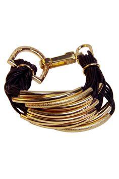 Saachi Cord & Tube Bead Bracelet In Black & Gold
