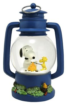 Snoopy and Woodstock Happy Campers snow globe from snowdomes.com