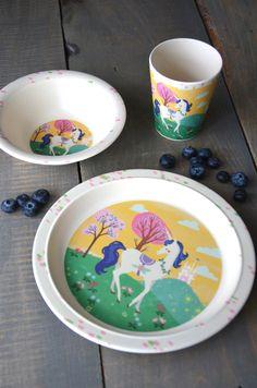 Plate LP Dinosaur 5 Piece Melamine Kids Dinner Set Metal Cutlery Tray Cup Bowl