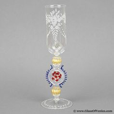 Murano Glass Museum | Murano Glass Museum Goblet - Engraved Champagne Flute